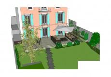 Conception comprenant: terrasse bois, pas japonais, plantation et gazon, Jardin à Sèvres