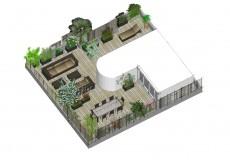 Conception d'une grande terrasse comprenant: un espace détente, repas et bain de soleil, Issy-les-Moulineaux