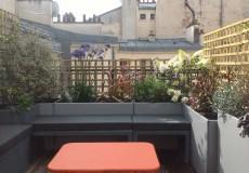 Banc coffre et bacs de plantation en alu, à Paris (75)