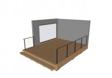 Schéma 3D d'une terrasse bois et garde corps
