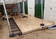 Recouvrement et extension d'une terrasse existante en lame grès cérame effet bois